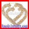 Gold, pearl Heart Bamboo Earrings Wholesale- BW6234