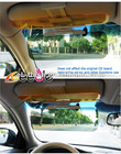 Car day and night glare mirror in yellow/blue