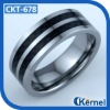 Carbon fiber inlay tungsten carbide rings with black strips