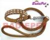 Genuine Leather Stud Dog Collars&Leash