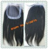 Coarse Yaki Malaysian virgin hair top closure with pu