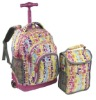 kid's coulorful shool trolley backpack with cooler bag