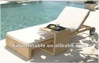 beach Synthetic Rattan Sun Bed