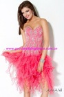 Hot Sale Sweetheart Strapless Crystals Organza Sexy Mini Short Cocktail Party Dresses