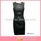 2013 Lady's Black Pencil Dress;Bodycon Dress with Mesh and Leather