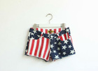 FY010 2011 new lena version of the classic five-pointed star American flag striped denim shorts
