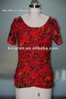 ladies' 50% Silk 45%Cotton 5%Spandex red blouses