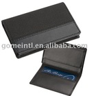 black leather name card holder