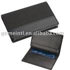 black leather name card holder
