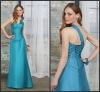 K677 Blue One Shoulder Pleated and Flowers Elastic Silk Like Satin Prom Dress