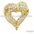 2012 Fashion heart shape crystal alloy Brooch Pins(MS0506)