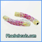 Shamballa Spacer Beads Wholesale Shamballa AB Multicolor Crystal Rhinestone Tube Charms For DIY Bracelets CTB-026