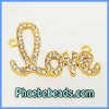 Newest Fashion Jewelry Connector Bead Wholesale Gold Plated Alloy Love Shape Charms Pave Crystal Rhinestone OMC-007