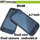 4.7'' IPS Star B92M S3 MTK6577 Cell Phone WCDMA 1GB/8GB Dual Core 1GHz Android 4.0 Dual Camera 0.3MP/12MP 1028*720 GPS WIFI
