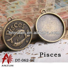 Pisces Cabochon Metal Setting For Crystal 12 constellation