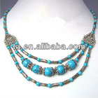 Pretty Tibetan silver turquoise 3 strand bead necklace