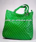 2012 New stylish shiny PU ladies tote bag