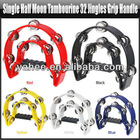 New Singer Half Moon Tambourine Percussion Drum Grip Handle-32 Jingles Musical Instrument - Red/Yellow/Blue/Black/White, YAS120A