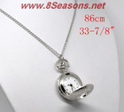 "Silver Tone Necklace Chain Quartz Pocket Watch 86cm (33-7/8""),"