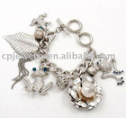 Rhodiumized / Blue Zircon Rhinestone / Lead&nickel Compliant / Toggle Closure / Assorted Charm Bracelet