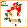 060048-2 Hot beautiful Christmas gift diamante red enamel bow little bell gold tone brooch pin