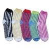 100% polyester soft yarn striped indoor floor socks