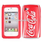 New Soft Silicone 3D Coca Cola Can Shape Protective Shockproof Back Case Cover Stand for iPhone 4 4G 4S red