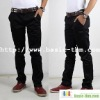 Men Casual Twill Pants Black Cargo Pants
