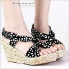S88B8-15 bohemian lady dot open toe sandals with cross-slope braided wedge heel black