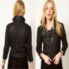 Coated Denim length sleeves Motorcycle Jacket