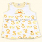 Two layers pure cotton printed & embroidered duck pattern vest style baby sleeping bag