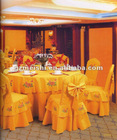 100% polyester embroidery yellow banquet chair cover with bow