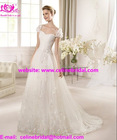 2013 New Arrival Beautiful Organza Cap Sleeves Wedding Bridal Gowns