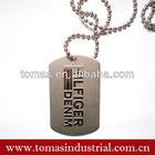 Customized alloy ball chain necklace dog tag for men