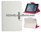 Criss-Cross Pattern Design PU & PC Protective Case with Stand Function for iPad Mini (White)
