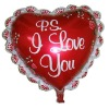 Red Hearted-shape Helium Balloon with letters