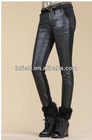 Ladies fashion checked&plaid pattern skinny ankle pants