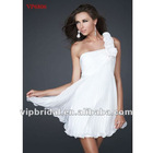 2012 new white chiffon one-shoulder beaded with handmade flowers Sexy dress