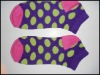 2012 fall multi color women socks seamless big dots with heel