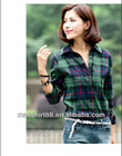 lady's 100% cotton long sleeve flannel plaid shirt check casual shirt