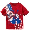 Red color big print t shirts for boys with cotton jersey