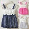 Baby Girls dresses Children skirt with shoulder-straps blue rose white