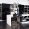 Elegant modern kitchen design cabinet with big glass doors AK25