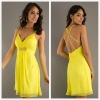 Sexy Yellow Spaghetti Straps Deep V-neckline Knee Length Party Dress