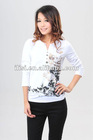 latest ladies top with henry neck long sleeve art plant print