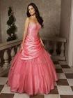 China rose shiny anywhere sleeveless ball grown prom dress