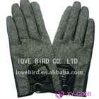 lady's winter green sheepskin leather durable gloves