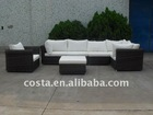outdoor PE wicker rattan furniture 7 set garden sofa with white cushions