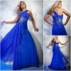 JE0175 Appliqued One-shoulder Roma Royal Blue Elegant Latest Formal Evening Dresses