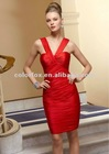 Chili Silky Chiffon halter dress Knee Length Bridesmaid Dress